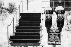 11        12 (-Dons) Tags: winter usa snow ny newyork sign stairs unitedstates parking 11 12 ithaca parkingmeter cornelluniversity