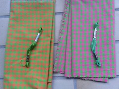 Chicken Scratch orange-pink (lerusisik) Tags: embroidery wip illusion plaids chickenscratch