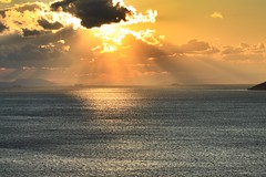Day leaving Sounio (spicros78) Tags: sunset sea sun cold canon landscape gold explore greece nophotoshop attica sounio canon70200l saveearth