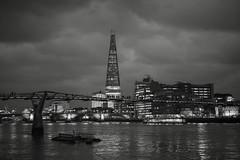 Tiny People (Northernly Exposure) Tags: city uk blackandwhite london water glass metal night buildings river landscape lights unitedkingdom millenniumbridge baw thethames theshard thameseastwalkway