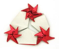 Fujimoto multi Rosettes on a branch 180 variation front (Pliages et vagabondages) Tags: star origami rosette décoration étoile fujimoto