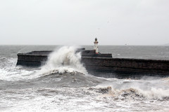 Harbour wall (Cumberland Patriot) Tags: light sea irish lighthouse house wall high waves harbour tide wave spray foam cumbria outer whitehaven cumberland copeland solway firth