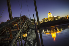 Missouri State Capitol on the Missouri River (Notley) Tags: blue winter reflection building ice water architecture reflections river lights evening january bluesky reflect capitol missouri freeze fluss colecounty statecapitol missouririver jeffersoncity dutchangle  2015 capitoldome 10thavenue jeffcity notley  missouristatecapitol ruralphotography   notleyhawkins missouriphotography jeffersoncitymissoui httpwwwnotleyhawkinscom notleyhawkinsphotography