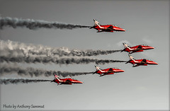 Black & White, Reds. (Tony Sammut) Tags: red flickr aviation jets trails malta airshow redarrows aeroplanes lightroom autofocus blackwhitephoto finegold canonef70300mmf456isu