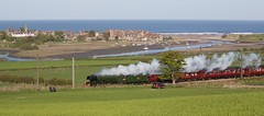 Flying Scotsman Alnmouth 1 (ianwyliephoto) Tags: york train scotland edinburgh engine loco steam northumberland alnmouth locomotive nationalrailwaymuseum flyingscotsman eastcoastmainline steamdreams 60103 may2016