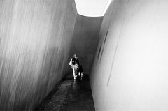 NJ-1 by Richard Serra @ Gagosian Gallery. Manhattan (velocityzen) Tags: street blackandwhite bw sculpture dog newyork art film girl kodak tmax iso400 28mm bandw ricoh f28 richardserra gr1v ricohgr1v filmaintdead