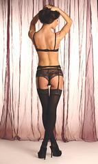 Backlight (Studio Five Photography (Terry Allsopp)) Tags: portrait people stockings female backlight hair studio model shoes arms legs mesh knickers curtain bra lingerie indoors heels backdrop suspenders seminude modelportfolio suspenderbelt canoneos5dmarkiii