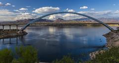 Afternoon at the bridge (Fred Moore 1947) Tags: bridge arizona lake clouds landscape us unitedstates desert roosevelt rooseveltlakebridige