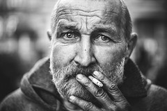 he was a photojournalist in the past, but now he is homeless (red line highway) Tags: life street city portrait people blackandwhite white black eye monochrome face field stpetersburg photography hope march spring nikon russia bokeh homeless photojournalism documentary social depth helios