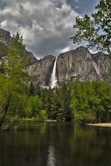 Yosemite Falls, Yosemite National Park (Mastery of Maps) Tags: california park ca trees sky green yosemitefalls nature water pine clouds forest river outdoors waterfall nationalpark spring natural bluesky falls yosemite yosemitenationalpark naturalbeauty sierranevada yosemitevalley overflowing mercedriver usnationalpark 2016 upperyosemitefalls flowingwater floodedbanks