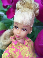 Soft as a Petal (Foxy Belle) Tags: francie doll barbie plant flower peony magenta yellow floral top shirt cotton growing hair tlc blonde mod 1960s vintage