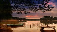 Boats on the lake. (augustynbatko) Tags: sky lake nature clouds landscape boats bornesulinowo