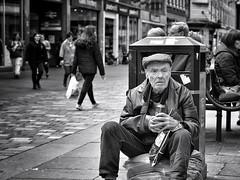 Super Lager (Grandaddy Flash) Tags: blackandwhite man trash nikon waiting sitting arm drink glasgow can bin alcohol sling rubbish argylestreet grandaddyflash worldpassing hesquiteanannoyingauldshite asivespokentohimbefore