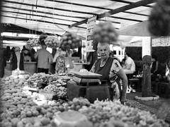 Potatoes Seller (Bruno Da Silva) Tags: street brazil people blackandwhite film monochrome mediumformat lomography sopaulo streetphotography potato fungus oldwoman marketplace analogue pretoebranco campinas seller brunosilva filmisnotdead mamiyam6451000s