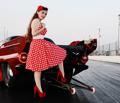 Holly_4682 (Fast an' Bulbous) Tags: girl woman car vehicle automobile hot sexy people outdoor drag strip race track santa pod england red dress shoes high heels stilettos stockings legs long hair beauty pose model polkadot hotty ford thunderbird supercharged 1955