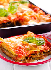 Aubergine and zucchini lasagna slice (manyakotic) Tags: appetizer aubergine baked cheese courgette dinner food lasagna lasagne layered melted pastry sauce savory slice snack spicy tomato vegetarian zucchini