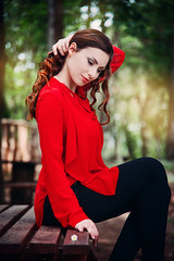 Rossella Chieli (elparison) Tags: wood red portrait forest redhead