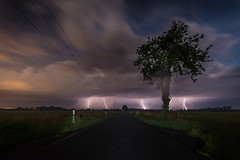 Light on street (Florian Bu Fotografie) Tags: light sky storm night danger lights licht wind outdoor himmel wolke wolken thunderstorm gefahr langzeitbelichtung ganger blitze lzb