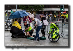 Cycle Response Unit in Action (Fermat48) Tags: manchester ambulance nhs umberella bycicle deansgate cycleresponseunit