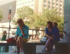 NSP Plaza, Minneapolis, June 1988 (STUDIOZ7) Tags: 1980s 80s eighties women girl smoking smoker cigarettes minneapolis mn minnesota nicolletmall startribune mtc metrotransit busstop