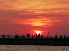 New Brighton Sunset (liverpix) Tags: newbrighton wirral sunset spectacular red weather sun windfarm sky windpower turbines wind