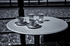 Turkish Coffee (`ARroWCoLT) Tags: turkishcoffee bokeh samsung nxmini 17mm f18 tuzla viaport marina istanbul pool blackandwhite blackwhite bnw siyahbeyaz outdoor waterfront glass coffee water