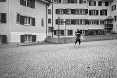 Street ballet (ULundquist) Tags: ballet dancing man zurich street tights switzerland outdoor woman blackandwhite couple houses bw