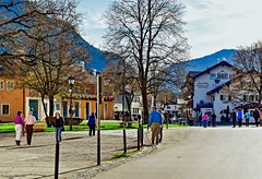 Calm Street (Dominique.B88) Tags: travel outdoor nikon dslr d300 1855 germany neuschwanstein street people trees d5300 hills mountains peaceful quiet smalltown townhall