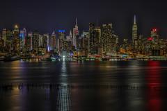 Manhattan Skyline, New York City (Bill Varney) Tags: manhattan newyork ny cityscape night lights reflection big city water hudson river weehawken newjersey nj outdoor pier billvarney