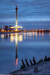 Mersey Gateway tower (1 of 1) (andyyoung37) Tags: england fiddlersferrypowerstation merseygatewaycrossing reflections runcorn sunkenboat uk wiggisland cheshire constructioncranes rivermersey sunset unitedkingdom gb