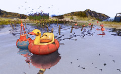 """One day I'll fly away."" (LoneSolitarian) Tags: second life secondlife sl virtual dark light shadow art firestorm gimp photography windlight photo sim 3d nature landscape scenery beauty romance serene water sea ocean reflection bird birds duck flamingo buoy"