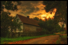 old farmhouse (curapajznik) Tags: sunset clouds farmhouse view czech bohemia hdr holany