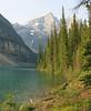 Moraine Lake ~ morning glow (karma (Karen)) Tags: trees canada mountains topf25 lakes pines alberta 4summer morainelake canadianrockies banffnp canadanationalparks