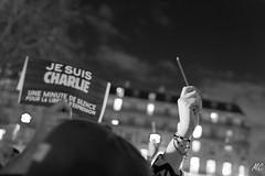 Je suis Charlie - Place de la Rpublique (mahtieuc) Tags: blackandwhite white black paris france ledefrance charliehebdo jesuischarlie