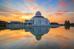 Fiery Sunrise of An-Nur Mosque (Rasdi Abdul Rahman) Tags: reflection sunrise canon mosque malaysia ramadhan masjid aidilfitri digitalblending annur rasdi canon5dmarkiii singhrayrgnd 5d3