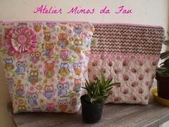 Nécessaires Corujas em Rosa (Atelier Mimos da Fau) Tags: quilt fuxico patchwork contas nécessaires
