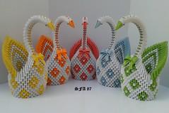 Diamond Pattern Swan Origami 3d (Samuel Sfa87) Tags: blue red yellow 3d swan origami pattern arte handmade crafts craft diamond swans sfa block artisan folding papercraft cigni cigno ganço arteempapel swanwhite blockfolding origami3d sfaorigami sfa87 arteconlacarta