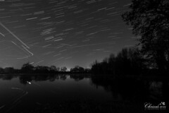 Stars, planes and meteors! (Chrisipe) Tags: longexposure nightphotography blackandwhite bw surrey stacking startrails geminids addlestone coxeslock surreyphotographer canon70d starstax