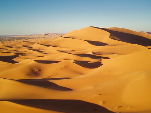 Erst bei tiefstehender Sonne entfalten die Dünen ihre volle Pracht