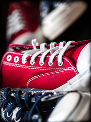 Jack Purcell, Converse. (CWhatPhotos) Tags: pictures camera blue red color colour field that logo lens stars jack photography foot shoe prime star shoes all foto dof bright image artistic pics top low picture pic olympus images wear ox have photographs photograph ii fotos badge converse chuck product which tops depth allstar chucks 45mm mk purcell allstars contain omd jackpurcell em10 cwhatphotos