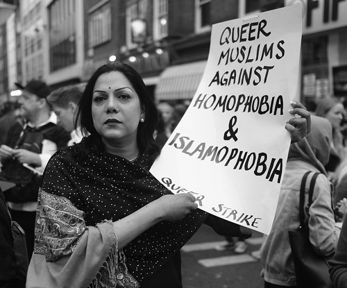 Queer Muslims Against Homophobia and Islamophobia. An activist at London's vigil in memory of the victims of the orlando gay nightclub terror attaack.