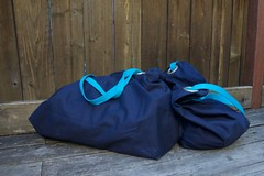 pair of blue Ikea bags slouchy (foxthreads) Tags: beach bag sewing gym tote