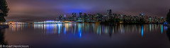 Enchanting Vancouver (a Nightscape) (Robert Henrickson) Tags: ocean panorama water skyline vancouver clouds buildings reflections downtown cityscape nightscape dancing lovers stanleypark shipyard canadaplace coalharbour