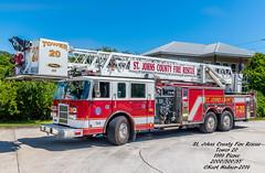 St. Johns County Tower 20 (Central Florida Emergency Photography) Tags: tower fire stjohns firetruck pierce crescentbeach firephotography butlerbeach stjohnscountyfirerescue rearmountaerial piercemfg 85footaerial pieceaerial