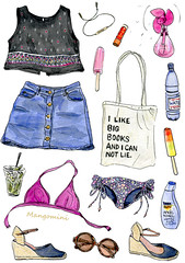 July 2015 It's getting hot in here (Cindy Mangomini) Tags: summer sunglasses illustration watercolor drawing bikini icecream mojito watercolour handdrawn whatiwore summerstyle fashionillustration denimminiskirt ootd fashiondrawing ilikebigbooks illustratedlife summerillustration mangomini cindymangomini whatiworeindrawings
