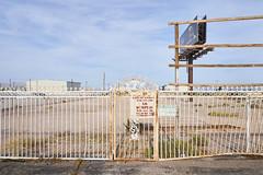 No Dumping, Vegas Strip (aylmerqc) Tags: usa abandoned sign metal fence rust desert lasvegas empty nevada dump nv rusted ugly trespass scrub blight trespassing dumping vegasstrip