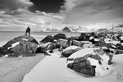 Photographer above sea level (vandrende) Tags: people bw norway landscape norge nb nor paysage lofoten personne norvege landskap nordland svarthvit myrland menneske