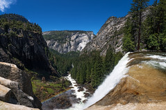 The top of Vernal Fall (josefrancisco.salgado) Tags: california panorama usa arcoiris ro river us waterfall rainbow nikon unitedstatesofamerica yosemitenationalpark nikkor catarata d5 lightroom cascada mercedriver vernalfall 1424mmf28g