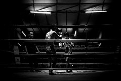 The very nervous of first game, two young boys posing just before fighting (Seconshot BW). Chiangmai Muaythai Championship Competition. (SUNA_PHOTOGRAPHY) Tags: blackandwhite bw monochrome thailand photojournalism chiangmai fighting muaythai