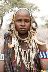 Mursi Woman (Rod Waddington) Tags: africa african afrika afrique ethiopia ethiopian ethnic etiopia ethnicity ethiopie etiopian mursi tribe traditional tribal omovalley omoriver omo valle woman female costume portrait people beads culture cultural mago national park